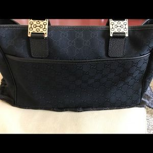 2fe30be603bb Gucci Bags | Authentic Black Canvas Double Strap Tote Bag | Poshmark